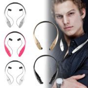 Bluetooth Headset Neckband Headphone with Retractable Earbud for iPhone Android 2