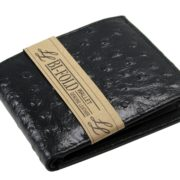 Mens Western Genuine Leather Wallet Bifold Ostrich Print Card Slots Black 1