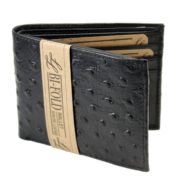 Mens Western Genuine Leather Wallet Bifold Ostrich Print Card Slots Black 2