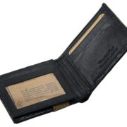Mens Western Genuine Leather Wallet Bifold Ostrich Print Card Slots Black 3