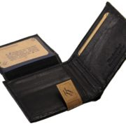 Mens Western Genuine Leather Wallet Bifold Ostrich Print Card Slots Black 4