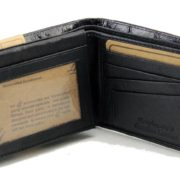 Mens Western Genuine Leather Wallet Bifold Ostrich Print Card Slots Black 5