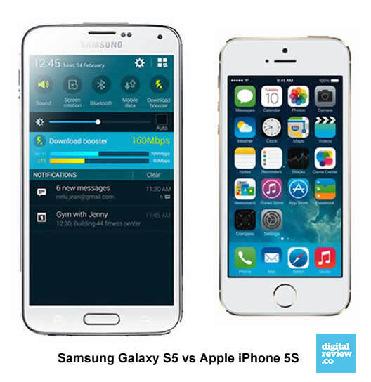 iPhone 5s vs Samsung Galaxy S5 - Specs Reviews