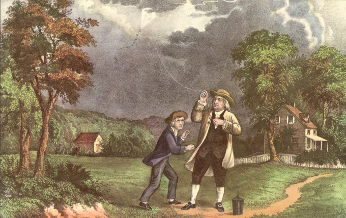 A Currier & Ives lithograph of Benjamin Franklin and his son William using a kite and key during a storm to prove that lightning was electricity, June 1752. (Photo by Hulton Archive/Getty Images)