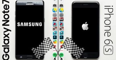 Who did win speed comparison between the iPhone 6S and Samsung Note 7