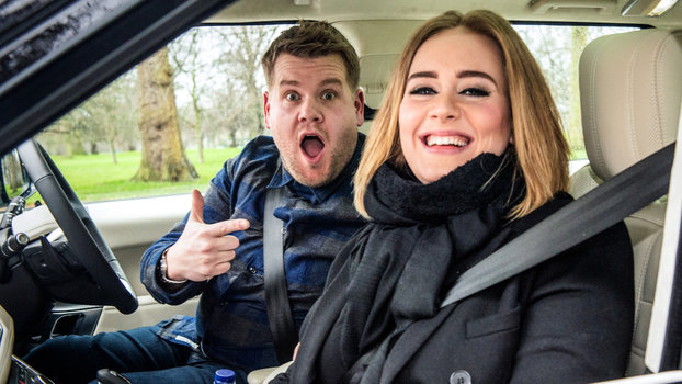 """LOS ANGELES - JANUARY 11: Adele joins James Corden for Carpool Karaoke on """"The Late Late Show with James Corden,"""" Wednesday, January 13th, 2016 (12:37 -- 1:37 AM, ET/PT) on the CBS Television Network. (Photo by Craig Sugden/CBS via Getty Images)"""