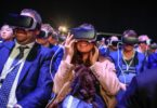 Delegates use the Gear VR (virtual reality) headset, manufactured by Samsung Electronics Co., at the Samsung Unpacked launch event ahead of the Mobile World Congress in Barcelona, Spain, on Sunday, Feb. 21, 2016. Mobile World Congress, an annual phone-industry event organized by GSMA Ltd., runs from Feb 22 to Feb 25. Photographer: Pau Barrena/Bloomberg via Getty Images