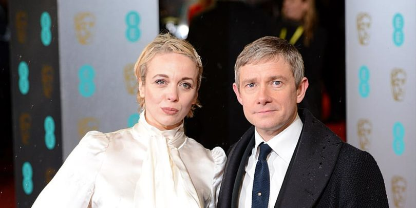 Martin Freeman and Amanda Abbington arriving for the 2013 British Academy Film Awards at the Royal Opera House, Bow Street, London.