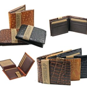 Mens Genuine Leather Wallet Bifold Ostrich Crocodile Print Card Slots Fashion