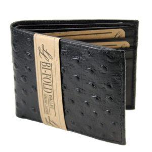 Mens Western Genuine Leather Wallet Bifold Ostrich Print Card Slots Black 2